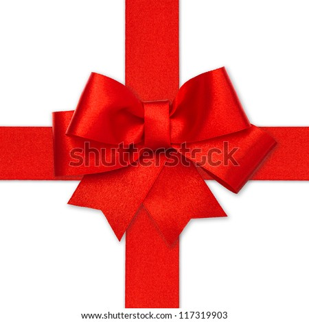 red ribbon bow isolated on white. holiday background. gift card concept