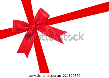 Red Ribbon Bow On White Background Preparation For Gift Wrapping 221827570