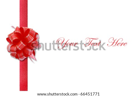 Red ribbon bow on white space for message