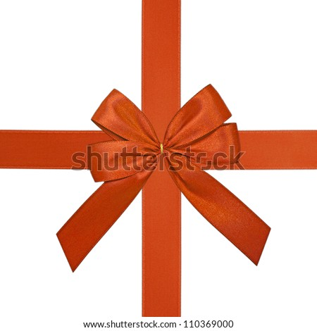 red ribbon centered and isolated on white background
