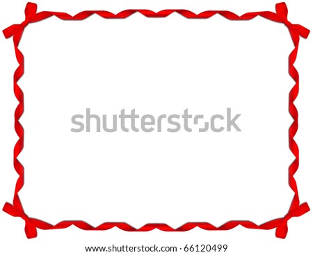 Red Ribbon Frame with Bow on white background