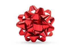 Red ribbon gift bow isolated on white background with clipping path.