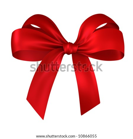 red ribbon gift isolated on white - stock photo