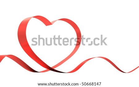 Red ribbon in a heart shape isolated on white. 3D illustration.