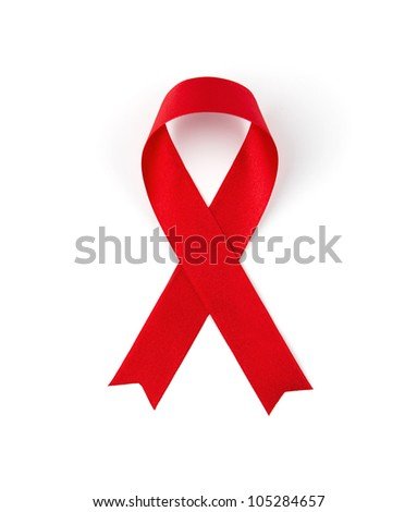 Red ribbon isolated on white background