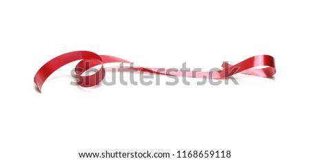Red ribbon isolated on white background and texture