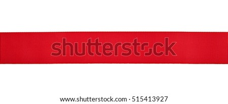 red ribbon isolated on white background closeup #515413927