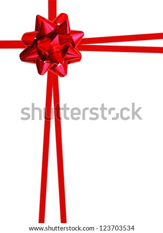 Red ribbon over white paper