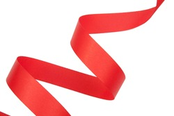 red ribbon serpentine solated on white background