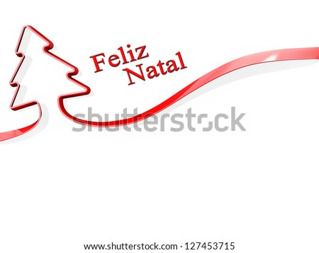 Red ribbon shaped like a Christmas Tree with Feliz Natal