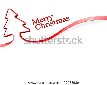 Red ribbon shaped like a Christmas Tree with Merry Christmas