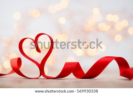 Red ribbon still heart. Greeting cards.