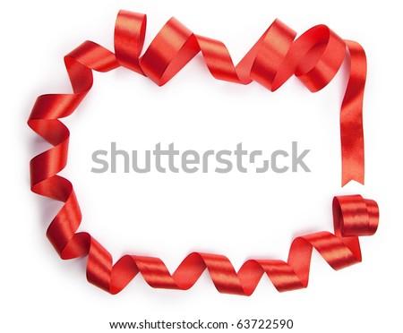 Red ribbon surrounding copyspace.