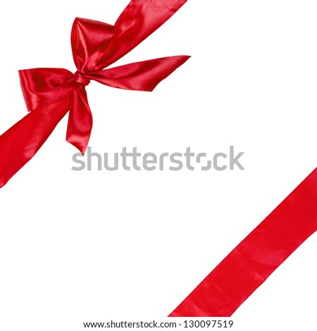 red ribbon with bow, square composition isolated on white background