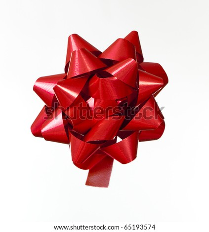 Red Ribbon with many loops looks like a flower