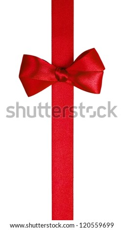 red ribbon with simple bow isolated on white background