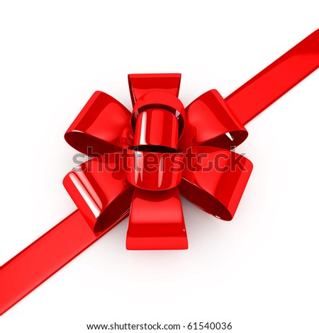Red ribbons over white background. 3d rendered image