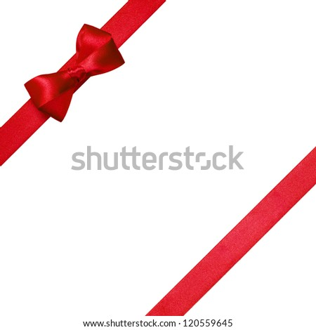 red ribbons with simple bow isolated on white background
