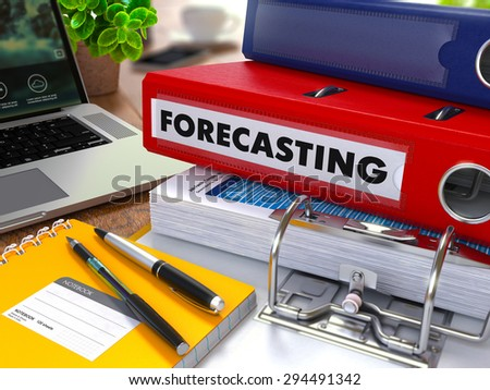 Red Ring Binder with Inscription Forecasting on Background of Working Table with Office Supplies, Laptop, Reports. Toned Illustration. Business Concept on Blurred Background.
