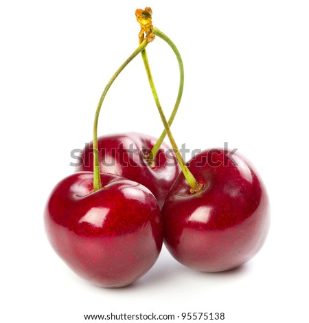 Red ripe cherries over white background - stock photo