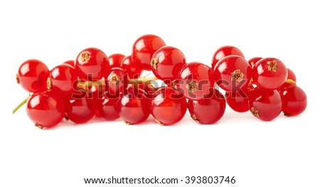 Red ripe  Currant berries isolated over white background #393803746
