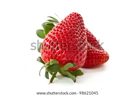 red ripe strawberry spring on a white background