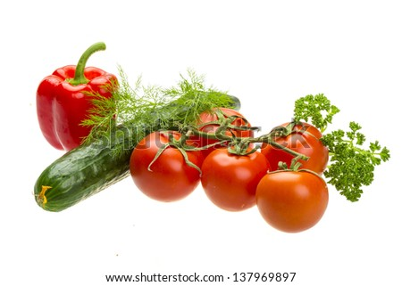 Red ripe tomatoes on the branch with parsley, dill, cucumber and pepper #137969897