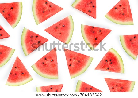 Red ripe watermelon sliced against a white background  - Shutterstock ID 704133562