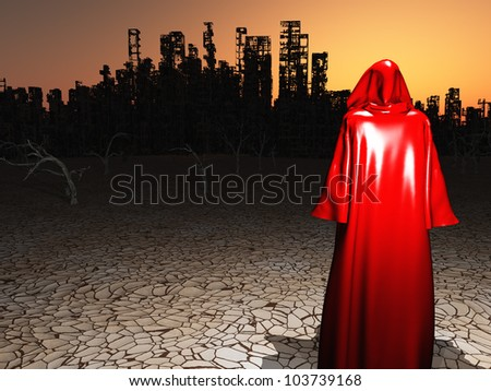 Red Robed Traveler before a destroyed city in desert