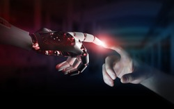 Red robot hand making contact with human hand on dark background 3D rendering