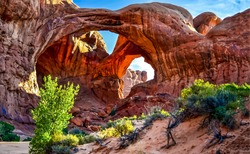 Red rock canyon arch mountain landscape. Grand Canyon red arch mountains. Red rock canyon arch. Red rock arch canyon scene