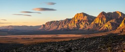 Red Rock Canyon at sunset in paroramic