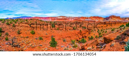 Red rock canyon desert panorama. Panorama of red rock canyon desert. Red rock canyon desert panoramic landscape