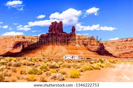 Red rock canyon desert road car landscape. Red rock canyon desert range. Mountain red rock canyon desert. Car trip at red rock canyon desert