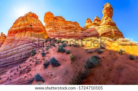 Red rock canyon desert sandstones. Sandstones in red rock canyon. Red rock canyon sandstones view