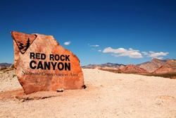 Red rock canyon entrance in Nevada, United States
