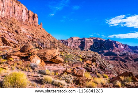 Red rock canyon mountain landscape. Sierra Nevada red rock canyon mountains view #1156841263