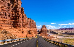 Red rock canyon mountain road landscape in Nevada, USA