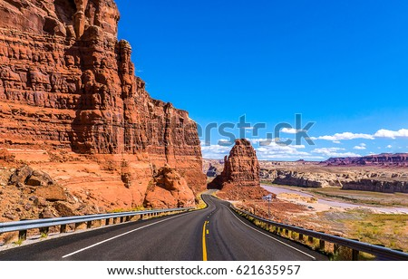 Red rock canyon mountain road landscape. Las Vegas red rock canyon road drive scenic in Nevada, USA