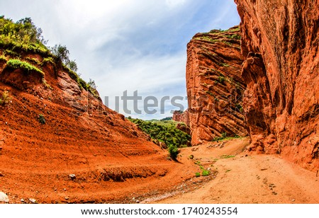 Red rock canyon mountain trail. Mountain red rock trail view. Mountain trail landscape