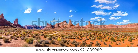 Red rock canyon panoramic landscape. Mountain canyon Nevada travel scenery panoramic landscape #621635909