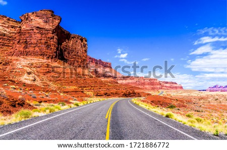 Red rock canyon road landscape. Highway road in red rock canyon. Red rock canyon highway road. Red rock canyon road view