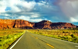 Red rock canyon valley road landscape. Mountain valley rod. Road in mountain valley. Mountain valley road landscape