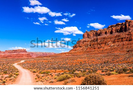 Red rock canyon valley road landscape. Sierra Nevada red rock canyon desert road panoramic landscape. Red rock canyon desert road panoramic view