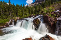 Red Rock Falls at Many Glacier, Glacier National Park