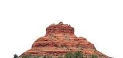 Red rock formation inSedona (Arizona, USA) isolated on white background