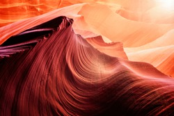 Red rock formations and design in Lower Antelope Canyon in Page, Arizona, United States.