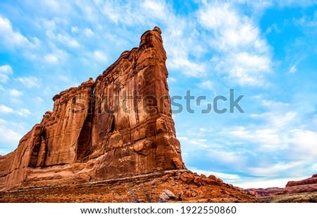 Red rock mountain in canyon desert. Mountain red rock high. High red rock in canyon. Red rock canyon rocks
