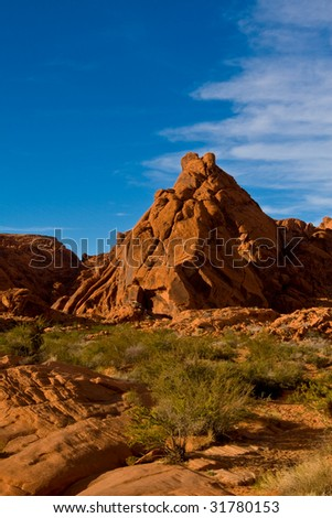 Red rock mountain in Valley Of Fire State Park - stock photo
