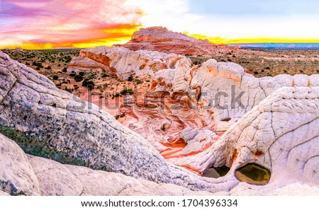 Red rock mountains sunset scene. Sunset red rock canyon desert panorama. Red rock canyon desert sunset landscape. Red rock sunset mountains